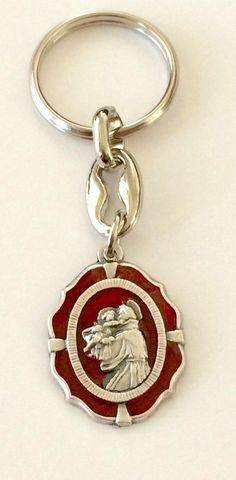 Saint Anthony Key Chain Red Enamel Stamped Italy Catholic St.
