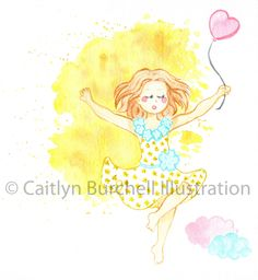 Fly, my darling. Art prints by Caitlyn Burchell Illustration perfect for a little girl's room! Little Girl Rooms, Little Girls, Watercolor Paintings, To My Daughter, Disney Characters, Fictional Characters, Aurora Sleeping Beauty, Colour, Art Prints