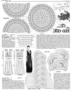 very beautiful dress, bottom half of page. the dress itself is difficult to see, but the chart for the motif strips & how to put them together can be made out
