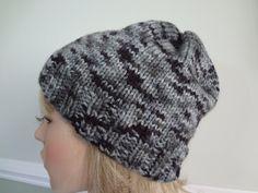 Black White Grey Gray Knit Slouchy Tam Hat Cap by yarnnscents