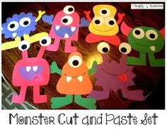 Monster Cut and Paste Set that includes 7 different monsters! Great for a monster classroom theme! by kimberlybeckley Monster Party, Monster Birthday Parties, Monster Theme Classroom, Classroom Themes, Craft Activities, Preschool Crafts, Fall Crafts, Halloween Crafts, Art For Kids