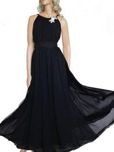 longue robe de mousseline de soirée noire de Up to date sur DaWanda.com