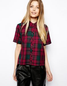 ASOS Shirt with Boxy Sleeve in Tartan Check
