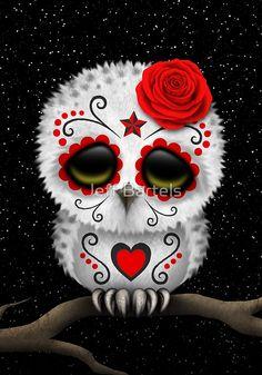 'Cute Pink Day of the Dead Sugar Skull Owl' Art Print by jeff bartels Red Day, Pink Day, Candy Skulls, Sugar Skull Owl, Tattoo Sugar Skulls, Los Muertos Tattoo, Totenkopf Tattoos, Geniale Tattoos, Bild Tattoos
