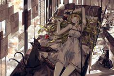 Anime - Pixiv Fantasia  Red Eyes Blonde Long Hair Cat Girl Anime Dress Wallpaper
