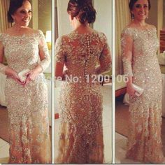 Mid Length Evening Dresses Scoop Appliques Champagne Tulle Mermaid Long Sleeve Evening Gown Silver Mother Of The Bride Dresses 2015 Vestido Orange Evening Dress From Olinabridal, $169.64  Dhgate.Com