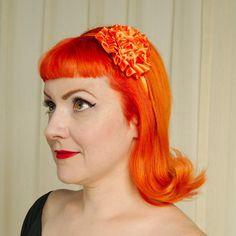 Wilma Flintstone Hair Tutorial See More Cats Like Us Orange Satin Flower Headband For At Retro