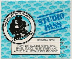 Universal Studios Florida Entrance Ticket c. Universal Studios Florida, Universal Studios Rides, Universal Orlando, Hard Rock Cafe Orlando, Old School, The Past, Entrance, Ephemera, Ticket