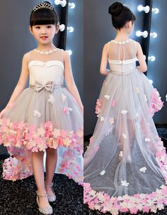 Dramatic Jewel Neck Bowknot High Low Flower Girl Dress - seem - Little Girl Gowns, Gowns For Girls, Frocks For Girls, Kids Party Wear Dresses, Baby Girl Party Dresses, Dresses Kids Girl, Baby Pageant Dresses, Birthday Dresses, Girls Frock Design