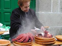 Popular octopus market in Galicia (Spain)