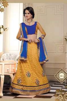Wedding Wear Yellow And Blue Lahenga Saree  #lehengasaree #lehengacholi #craftshopsindia