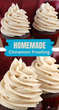 Spice up your frosted desserts with this delicious Cinnamon Buttercream Frosting. It is so easy to make and tastes sweet, spicy and amazing! Cake Frosting Recipe, Sugar Frosting, Vanilla Buttercream Frosting, Frosting Recipes, Gourmet Cupcake Recipes, Dessert Recipes, Dessert Ideas, Cake Ideas, Yummy Cupcakes