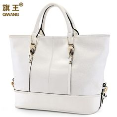 Fair price Qiwang Large White Handbag Women Bag Soft Top Genuine Leather Tote Bag Designer European Trendy Bag for Women High Quality just only $90.14 with free shipping worldwide  #womantophandlebags Plese click on picture to see our special price for you