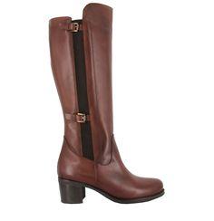 Bota de piel con tacón bajo en Marrón. Modelo simple y minimalista. Ref.6169// Brown leather heel boot. Basic and minimalist. Ref.6169