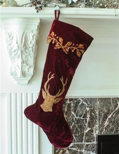 Stag's Crest Edwardian Velvet Stocking A majestic deer is emblazoned in gold threads upon velvet of cabernet hue. Christmas Trends, Merry Christmas, Victorian Christmas Decorations, Holiday Ornaments, Holiday Decor, Victorian Trading Company, Holiday Festival, Winter Time, Vintage Decor