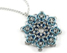Ice Blue Snowflake Chainmail Necklace  by CelestialBlacksmith