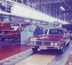 This Plant Engineering Department snapshot captured a Buick sedan as it was about to leave the drive-off section of the assembly line at Buick's Flint Assembly. Buick Sedan, Flint Michigan, Buick Electra, Assembly Line, Station Wagon, General Motors, Car Photos, Muscle Cars, Luxury Cars