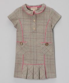 Loving this Beige & Pink Plaid Wool-Blend Dress - Toddler & Girls on #zulily! #zulilyfinds