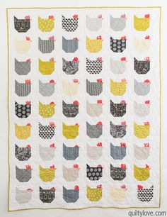 The Chicken Quilt - link to free tutorial - Quilty Love Bird Quilt Blocks, House Quilt Block, House Quilts, Antique Quilts, Vintage Quilts, Quilt Block Patterns, Pattern Blocks, Chicken Quilt, Hen Chicken