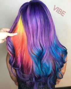 Rainbow hair is an original and bold contemporary trend. The most interesting forms of multi-colored hair are holograms, highlights, hidden rainbow, layers of different shades. Hair Dye Colors, Cool Hair Color, Pelo Multicolor, Bright Hair, Colorful Hair, Pinterest Hair, Unicorn Hair, Dye My Hair, Crazy Hair