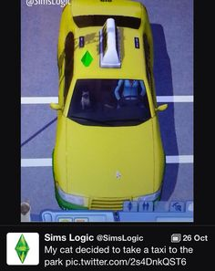 My cat decided to take a taxi to the park. The Sims. Sims Memes, Sims Humor, Funny Sims, Sims 3, The Sims, Sim Fails, Lol, Just For Laughs, Tumblr Funny