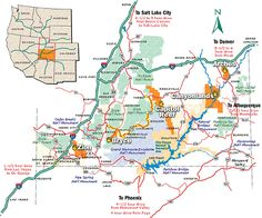 Map Of Utah's five National parks & other great areas to visit
