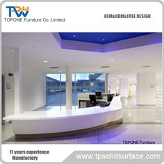 Large luxury reception desk for office furniture Reception Desk Design, Reception Counter, Bar Counter, Office Furniture, Office Desk, Corian Solid Surface, Dinner Table, Kitchen Countertops, Free Design