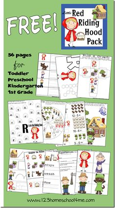 Free Printable - Red Riding Hood Pack with 56 pages of learning activities for toddler, preschool, kindergarten, 1st  2nd grade!