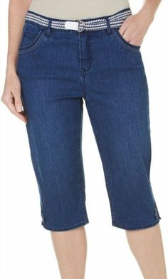 24.99$  Buy now - http://vicfz.justgood.pw/vig/item.php?t=gyzunm10473 - Gloria Vanderbilt Denim Belted Lexi Twill Skimmer Capris Pants Size 6 NEW 24.99$