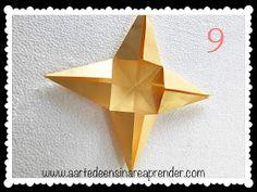 A Arte de Ensinar e Aprender: Estrela 3D em dobradura 3d, Teaching, Diy Creative Ideas, Crafts, Creativity, Stars, Glass Display Case, Xmas, Manualidades