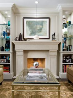 Fireplace Design  • Fireplace Cabinetry • Cabinetry Lighting • Mirror Backed Cabinetry •  #candiceolson #candiceolsondesign Candice Olson, Fireplace Design, Family Room, Sweet Home, Shelves, Living Room, Interior, Crown Molding, Inspiration