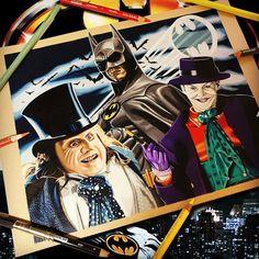 Awesome pencil color drawing of Batman, Penguin and the Joker from Tim Burton movies Batman, done by artist Wall-E Art Drawing Superheroes, Batman Artwork, Wall E, Bat Family, Tim Burton, Airbrush, Colored Pencils, Penguins, Dc Comics