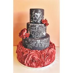 Chalkboard Wedding Cake by 2tarts Bakery / New Braunfels, TX / www.2tarts.com