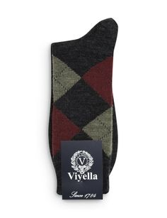 Charcoal Wool Argyle Short Sock