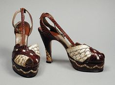 Gorgeous mixed reptile skin sandals by Henri, 1949