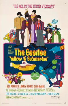 The Beatles - Yellow Submarine - Home Theater Decor - Movie Musical Poster Print - or Concert Posters, Film Posters, Paul Mccartney, Poster Dos Beatles, Yellow Submarine Song, Lonely Heart, Music Lyrics, Musical, Wallpaper