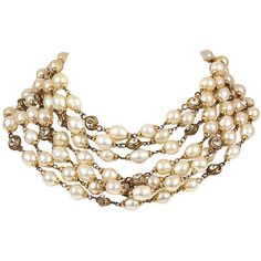 Pre-Owned Chanel Pearl & Rhinestone Bib Necklace (9.050 RON) ❤ liked on Polyvore featuring jewelry, necklaces, hook necklace, pearl jewelry, 80s charm necklace, fake jewelry and 80s necklace