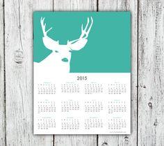 2015 Calendar, deer calendar, 2015 wall calendar, rustic decor, rustic calendar, 11x14 calendar, animal calendar, choose color