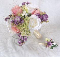 Cottage chic bouquet lilacs blush pink and creme rose bouquet 6 piece bridal bouquet set by ChurchMouseCreations on Etsy https://www.etsy.com/listing/130242684/cottage-chic-bouquet-lilacs-blush-pink