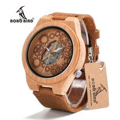 Special price BOBO BIRD B09 Mens Bamboo Wooden Watch Movement Exposed Design Luminous Hands Quartz Watch montre homme marque de luxe just only $22.43 with free shipping worldwide  #menwatches Plese click on picture to see our special price for you
