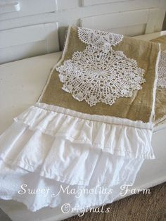 Burlap and Lace Table Runner ...Vintage by SweetMagnoliasFarm