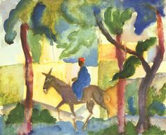 "August Macke. ""Donkey rider."" Size: 28.5x24 cm Medium: watercolor"""