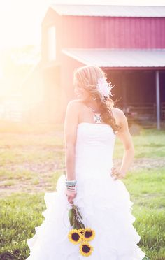 Country bridal session! (#rustic weddings, #yellow weddings)