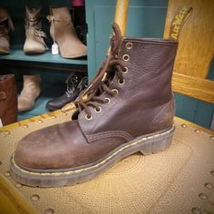 Natural-type oil finished leather, with a worn, distressed appearance. Built on the iconic Dr. Dr Martens 1460, Dr. Martens, Crazy Horse, Lace Up Boots, Timberland Boots, Aztec, Me Too Shoes, Going Out, Combat Boots