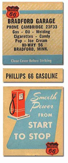 Bradford Garage #Matchbook #Phillips66 To Design &Order your business' advertising matches GoTo GetMatches.com