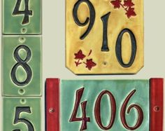 Decorative Tile House Numbers Handcrafted Single Digit Ceramic House Numberravenstonetiles