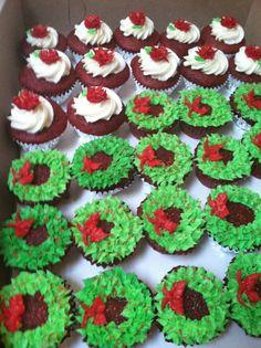 Wreath and poinsettia Red Velvet Cupcakes