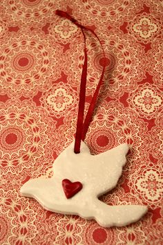 Pair of two white polymer clay Christmas dove by albertinebelle, £2.90