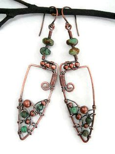 Handmade bohemian earrings with African by Kissedbyclover on Etsy