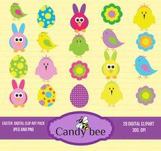 Happy Easter Clipart , Bunny Clip Art, Easter Egg Clip art,  Flower  for invitation Card Design, Scrapbooking and Web Design -SAJ-227